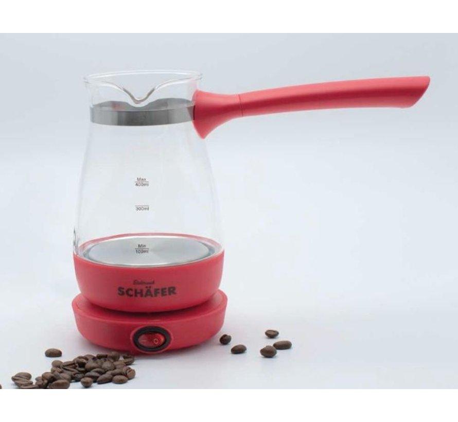 Elektrikli Turk kahvesi makinesi acik kirmizi
