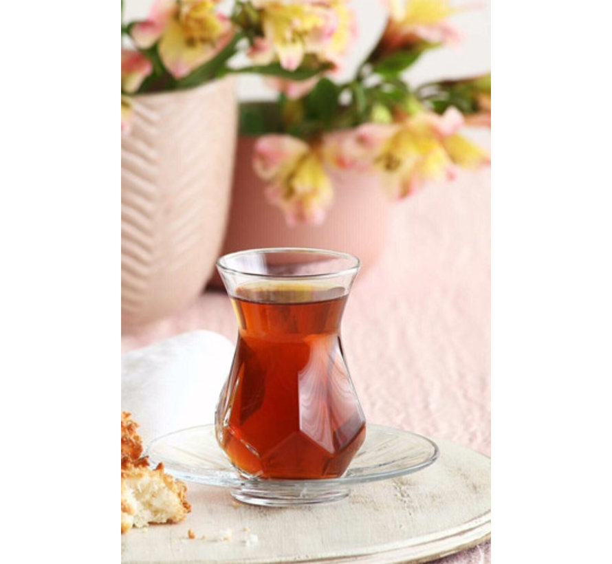 Glazen theeonderzetters 6 delig Alya