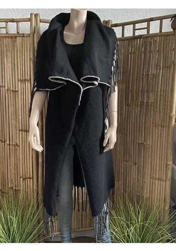 One Ibiza Stijl Vest Queen Zwart Lang