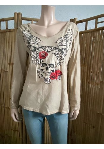 Top Skull Khaki  Rose