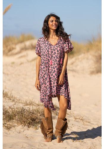 Tarifa Soul Jurk Maria Leopard Pink