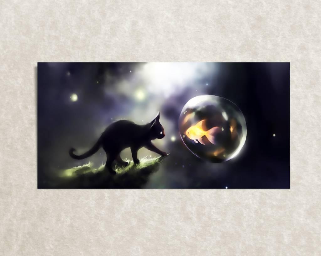 Dieren canvas poster Kat en Vis