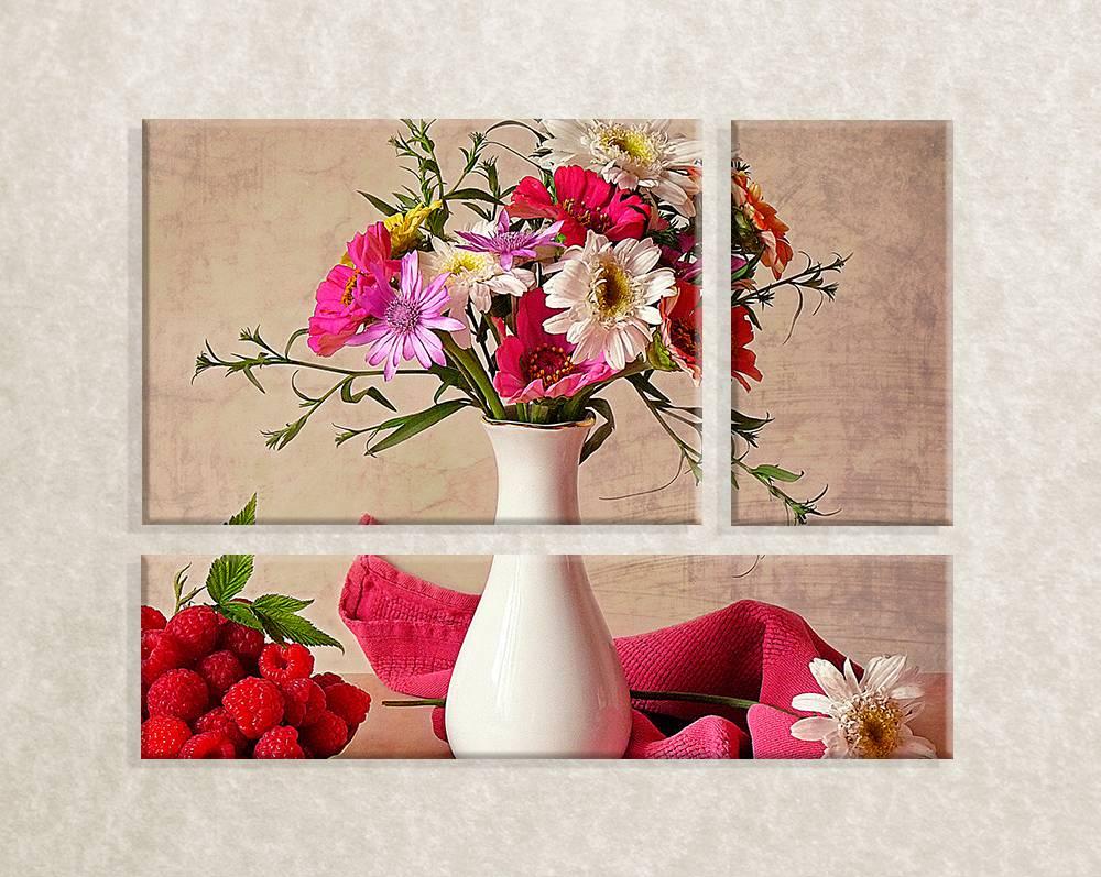 Foto op canvas - vaas met bloemen