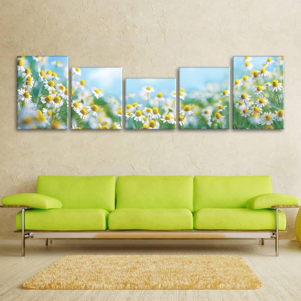 Foto op canvas - kamille bloemen - 5F5