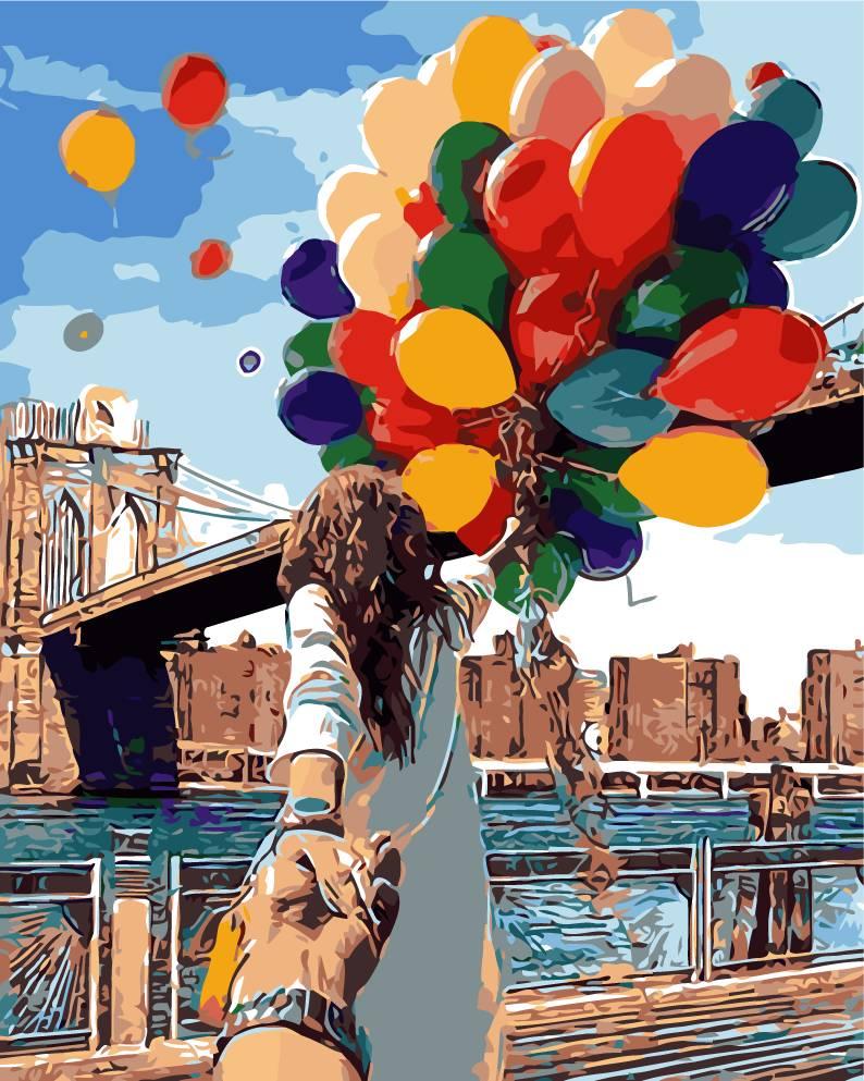 Diamond Painting Goedkoop - Vrouw met ballonnen- DM23