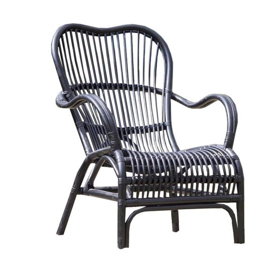 Zwarte Lounge Stoel.Gewoon Zwarte Rotan Loungestoel 67x80xh86 Cm