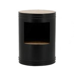 Bijzettafel Barrel Zwart - Ø40xH55 cm