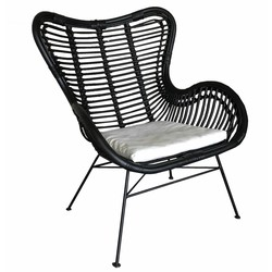Zwarte Rotan Egg Chair - 70x76x90 cm