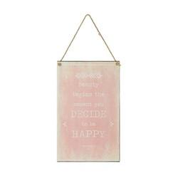Tekstbord Happy Roze - 23xH38 cm