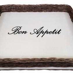 Vierkant rieten dienblad met witte bodem - Bon Appetit
