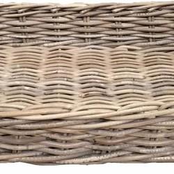 Rechthoekig rieten dienblad met jute handvaten - L