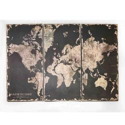 Wandkaart Globe 3-delig - 120x2,5xH80 cm