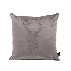 Velvet Sierkussen Zilver Rendier - 45x5xH45 cm