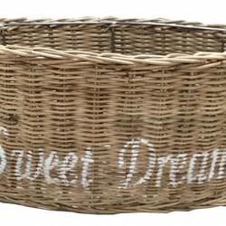 Bruine ovale rieten lampenkap - wit Sweet Dreams