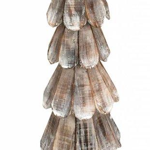 Bruine houten schulp kerstboom - 65 cm