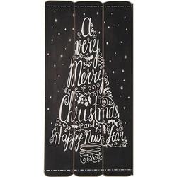 Zwart Houten Tekstbord Christmas - 30x1xH60 cm
