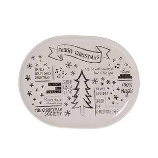Witte Serveerschaal Kerst - 30x23 cm