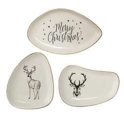 Witte Bordjes Kerst - Set van 3 stuks