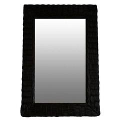 Zwarte Rieten Wandspiegel - 52xH77 cm