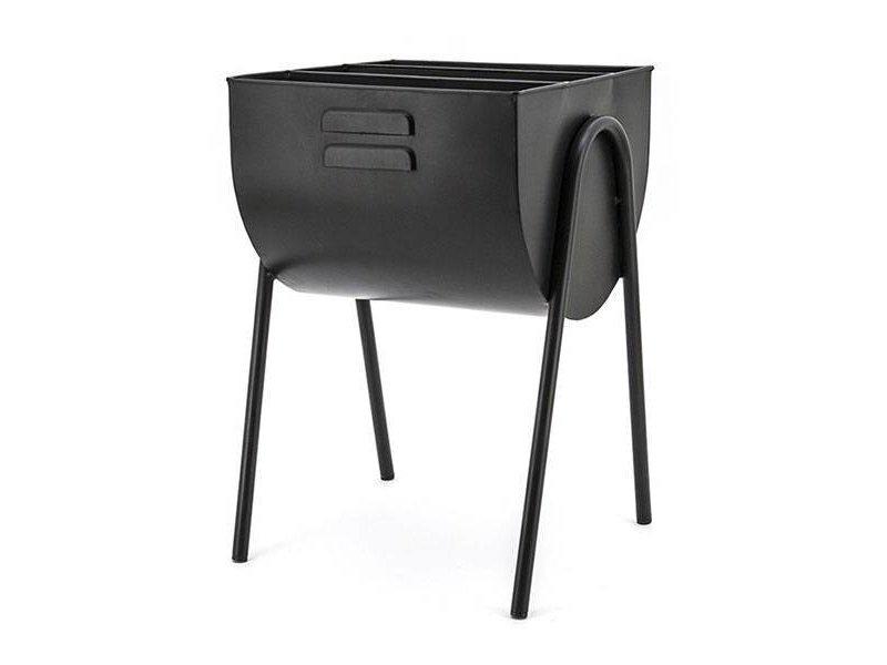 By-Boo Zwarte Metalen Tijdschriftenhouder - 37x40xH55 cm