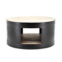 Zwarte Salontafel Barrel - 70xH35 cm