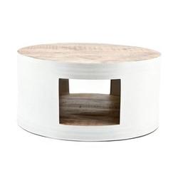 Witte Salontafel Barrel - Ø70xH35 cm