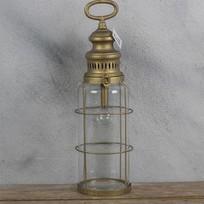 Metalen Windlicht met lampje - Ø12xH42,5 cm