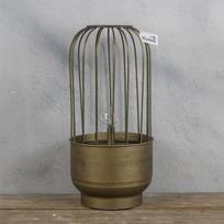 Metalen Lantaarn met lampje - Ø18xH36,5 cm