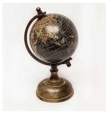 GeWoon Zwarte Wereldbol op voet - 12 cm