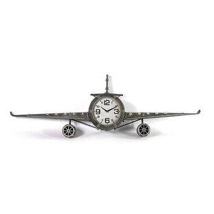 Grijze Wandklok Vliegtuig - 143x20xH46 cm