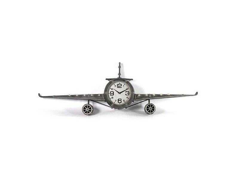 Countryfield Grijze Wandklok Vliegtuig - 143x20xH46 cm