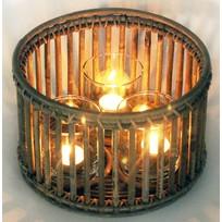 Rotan Windlicht Met 3 Glazen - Ø25xH15 cm