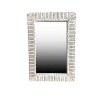 Witte Rieten Wandspiegel - 52xH77 cm