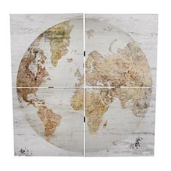 Wandkaart Globe 4-delig - 80x3xH80 cm