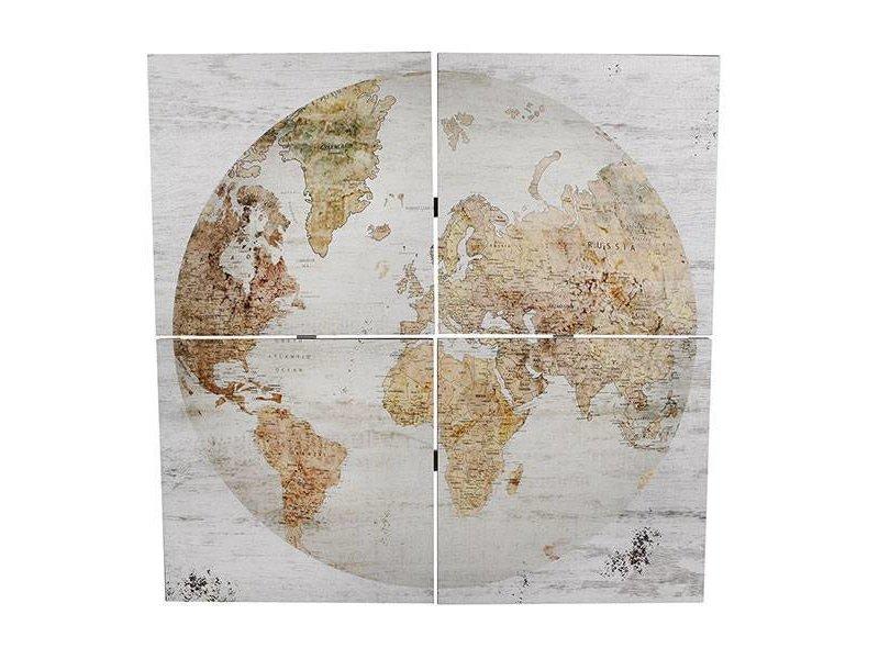 GeWoon Wandkaart Globe 4-delig - 80x3xH80 cm