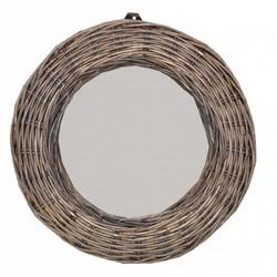 Ronde rieten spiegel - 28 cm