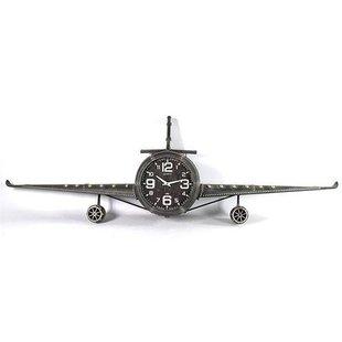 Grijze Wandklok Vliegtuig - 195x26,5xH57 cm