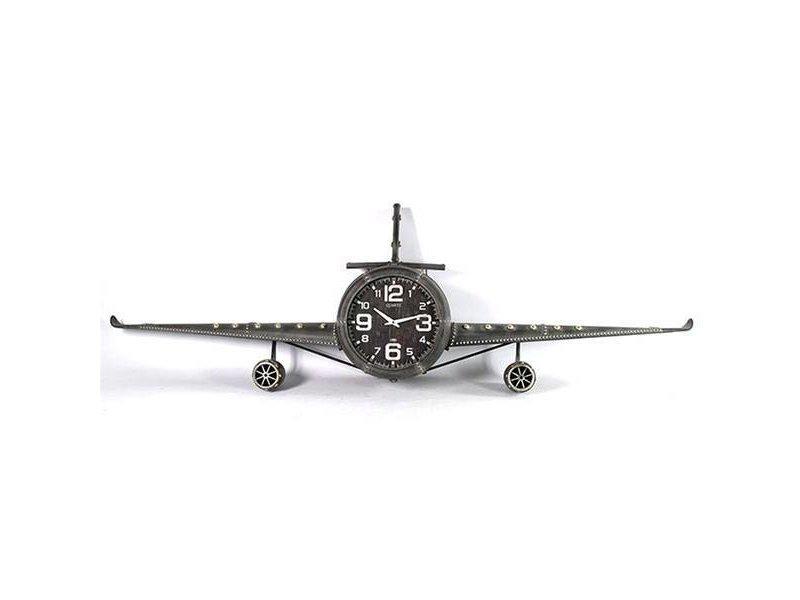 Countryfield Grijze Wandklok Vliegtuig - 195x26,5xH57 cm