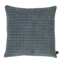 Fluwelen Kussen Squares Blauw - 45xH45 cm