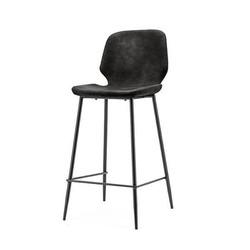 Zwarte Barkruk Seashell - 43x52xH104 cm