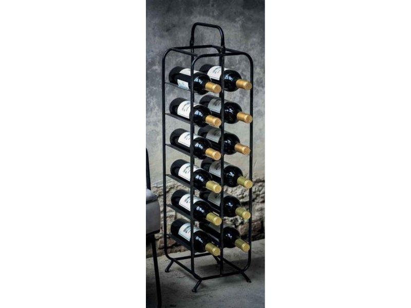 PTMD Collection Zwart Metalen Wijnrek Voyage - 23x23,5xH89,5 cm
