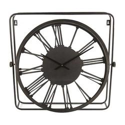 Grijze Metalen Wandklok Vierkant - 64,5xH62 cm