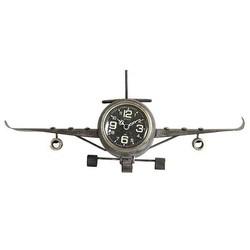 Grijze metalen tafelklok Vliegtuig - 41xH17 cm