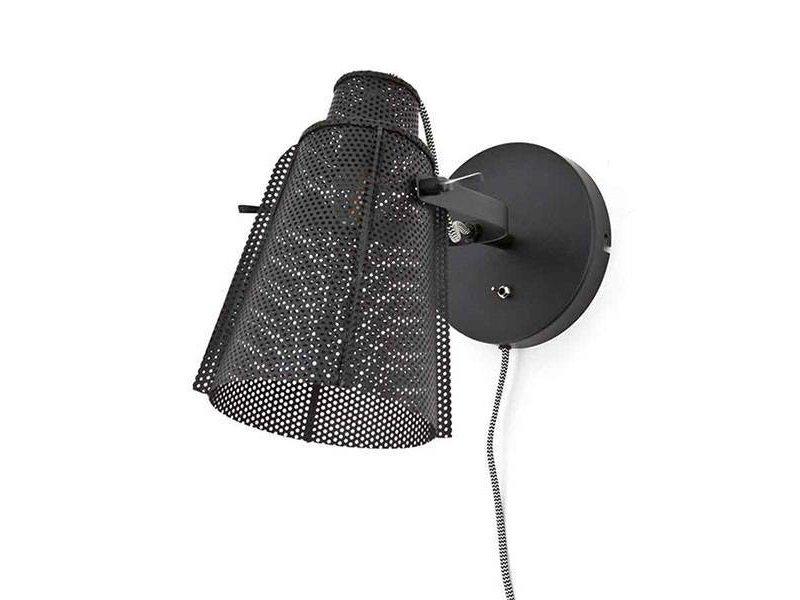 By-Boo Zwarte Metalen Wandlamp Apollo - 31x25xH25 cm