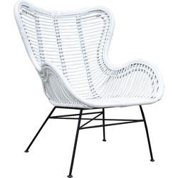 Witte Rotan Egg Chair - 70x76xH90 cm