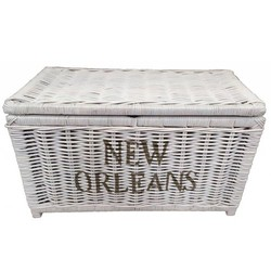 Grote witte rieten mand XL - New Orleans