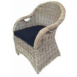 Rieten stoel - zwart kussen