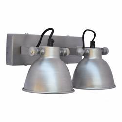 Wandlamp industrial dubbel antiek zink - 28x14x16 cm