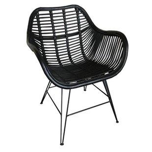 Zwarte Rotan Stoel - 69x66xH79 cm