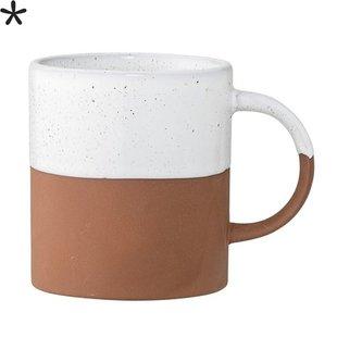 Mok Terracotta Wit - Ø8xH9 cm